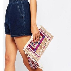 ASOS Street Level embroidered clutch bag